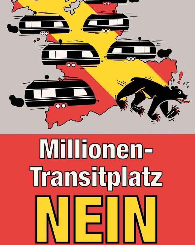 Ausschnitt des offiziellen Plakats der Gegner eines Transitplatzes in Wileroltigen.