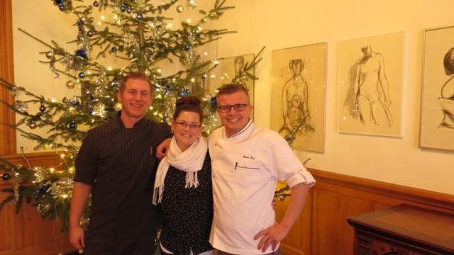 Kevin Bracher, Nadia Schenk und Marco Lau, Geschäftsleitertrio Gasthof Löwen Heimiswil.
