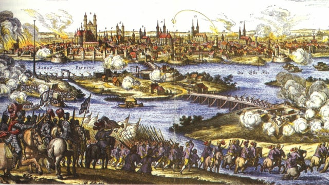 Zeichnung: Militärtruppen greifen eine Stadt an.