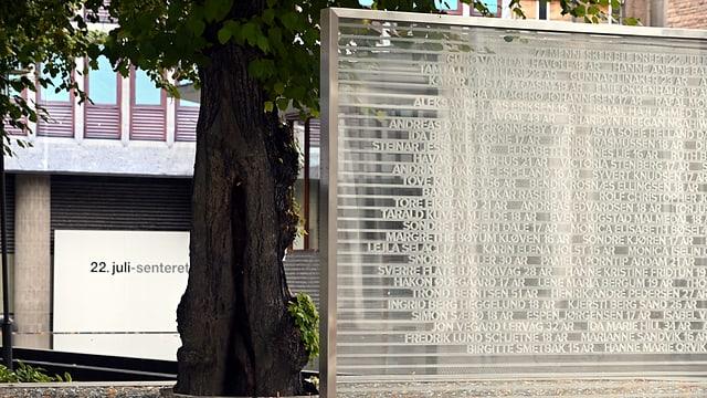Eine Gedenktafel steht neben einem Baum.