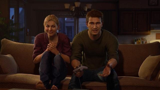 Fiktive Videospiel-Charaktere beim Gamen