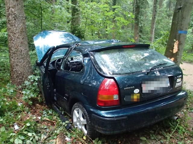Auto zwischen Bäumen.
