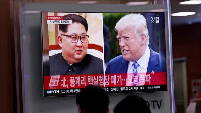 Kim Jong Un e Donald Trump a la televisiun en la Corea dal Sid.
