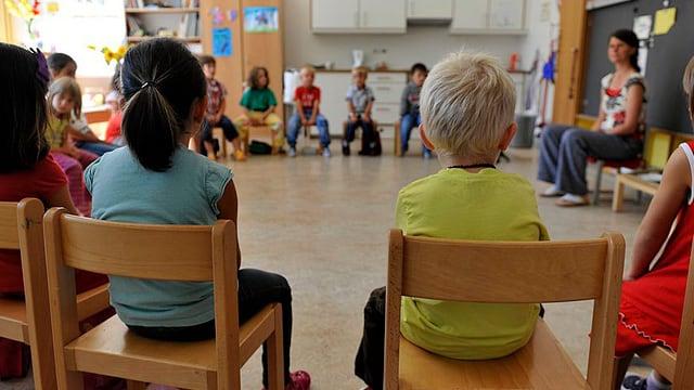 Schüler sitzen auf Stühlen im Kreis