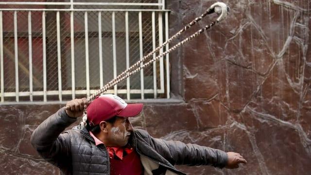 Pro-Morales-Demonstrant in Bolivien