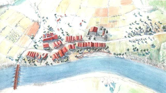 Zeichnun eines römischen Dorfes an einem Fluss.