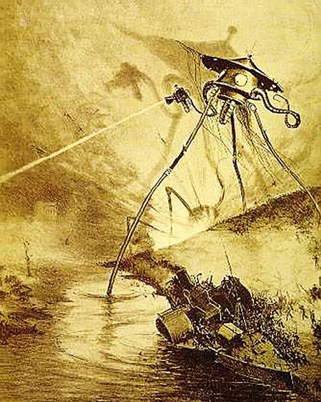 Dreibeinige Kampfmaschine vom Mars schiesst mit einer Art Laserkanone.
