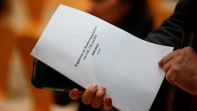 28 Seiten als Resultat von 24 Stunden Verhandlung: das Sondierungsspapier.