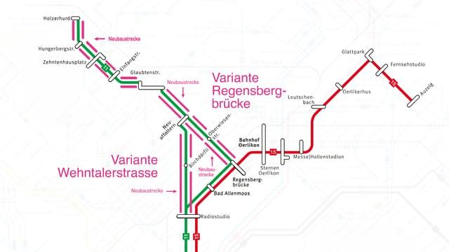Die neuen Linienführungen der Trams 11 und 15.