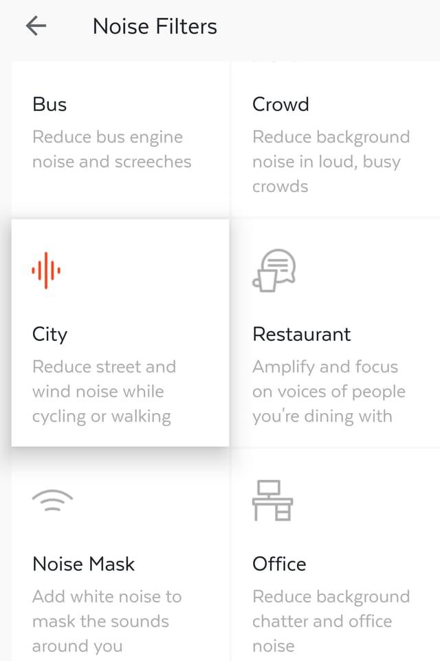 """Der Screenshot zeigt verschiedene Lärmfilter der Here One-App - unter anderem """"City""""."""