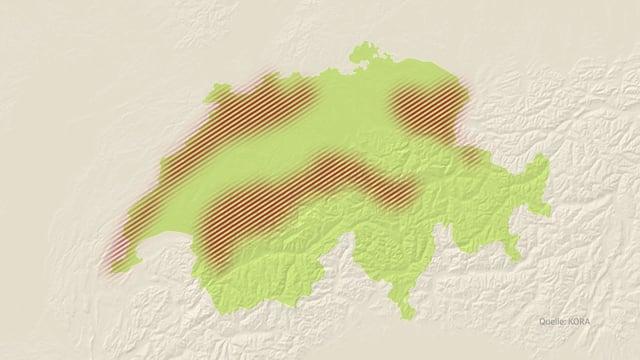 Schweizerkarte mit rot markierten Gebieten