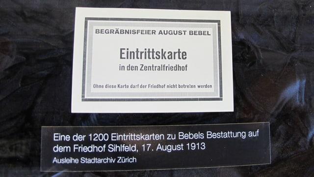 Die Eintrittskarte zum Begräbnis von August Bebel 1913.