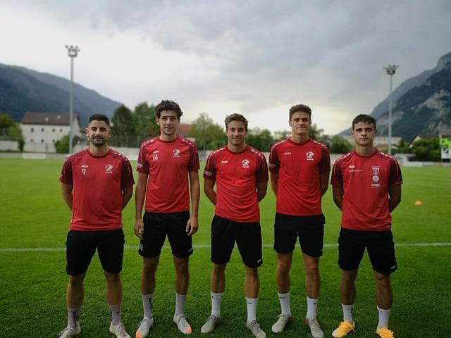 Carlo Bearth, Rafael Deplazes, Lars Caduff, Marino Cavegn e Fabrizio Cavegn.