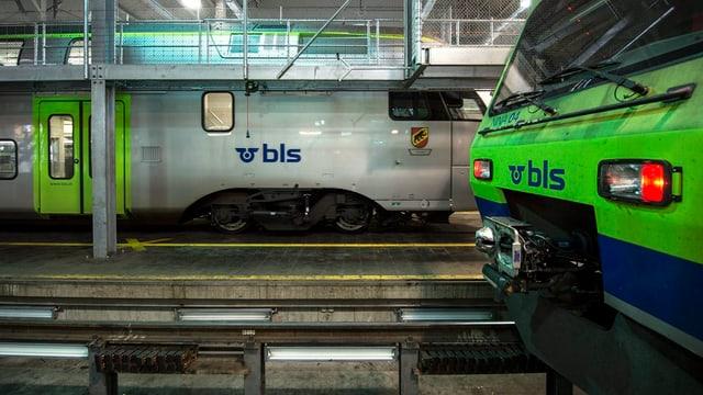 Zwei Züge stehen im Depot.