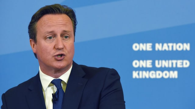 David Cameron im Porträt mit dem Logo «One Nationa – One United Kingdom».