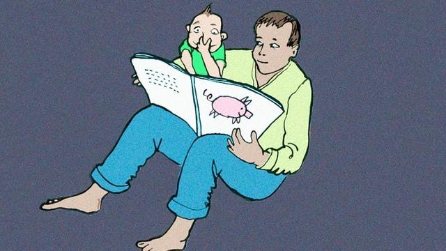 Illustration: Vater liest seinem Kind aus einem Buch vor