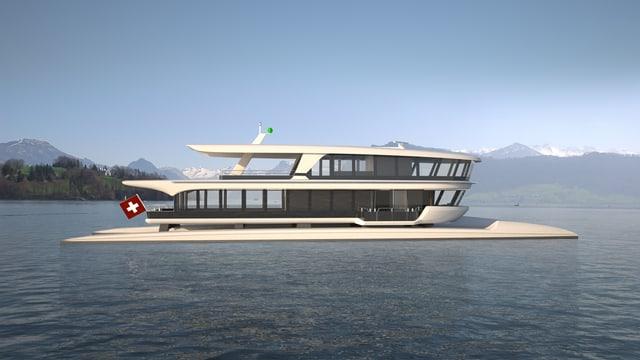 Visualisierung eines Passagierschiffes auf dem See