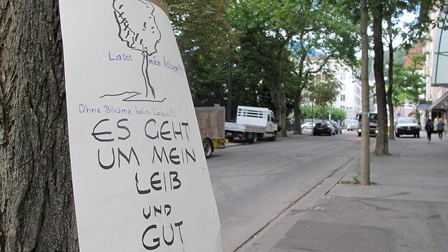 An einem Baum in Chur hängt der Hinweis «Es geht um mein Leib und Gut»