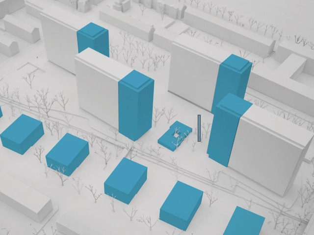 Architekturmodell mit den neuen Hochhausanbauten.