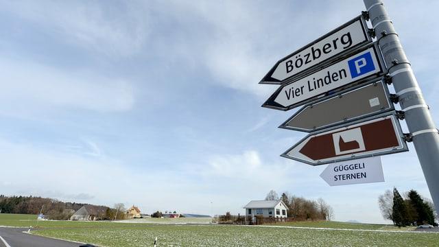 Wegweiser Richtung Bözberg