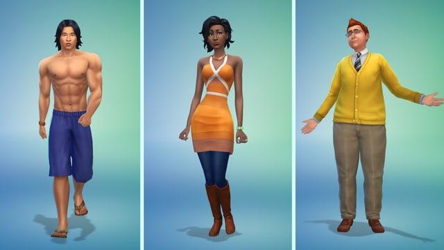 Drei Sims-Figuren stehen nebeneinander.