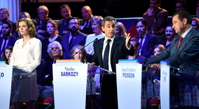 Sarkozy redet bei einer TV-Debatte