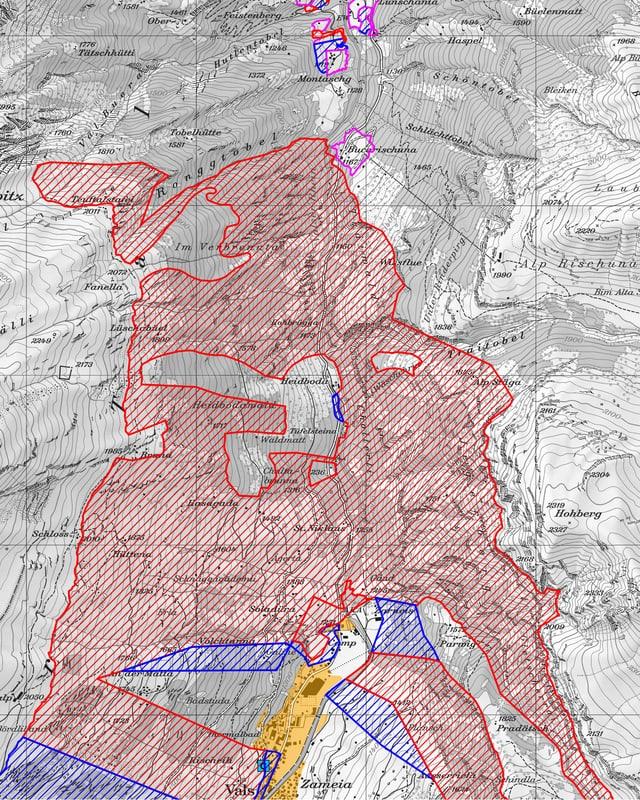 Karte mit verschiedenen Zonen