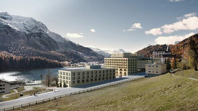 Visualisierung des modernen Baus, im Hintergrund das herbstliche Oberengadin.