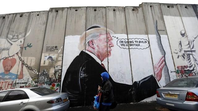 Graffiti an israelischer Grenzmauer zeigt Trump