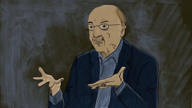 Illustration eines älteren Mannes mit Brille, der seine Hände fragend vor sich hält.