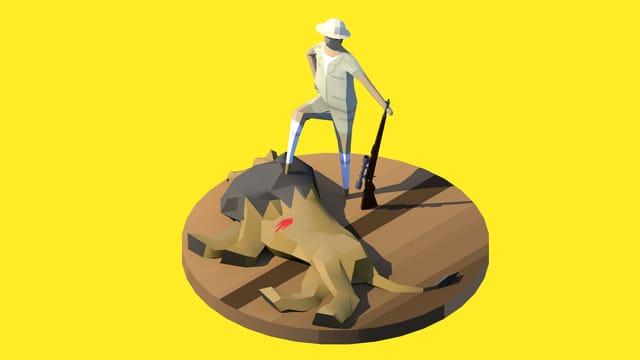 Grosswildjäger posiert mit einem Fuss auf einem erlegten Löwen vor gelbem Hintergrund.