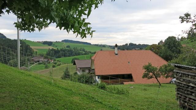 Bauernhaus und Hügel in Oberscherli