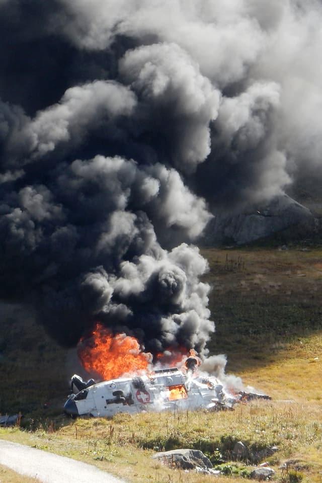 Brennender Helikopter