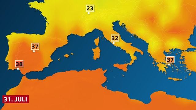 Höchsttemperaturen, Spanien und Mittelmeerraum am Sonntag.