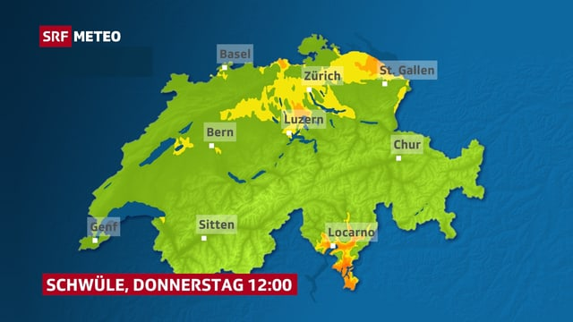 Karte der Schweiz: Gelb und orange eingefärbt sind die schwülen Regionen.