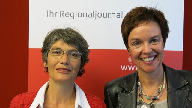 Regula Nebiker (links) und Monica Gschwind stehen nebeneinander und schauen in die Kamera.