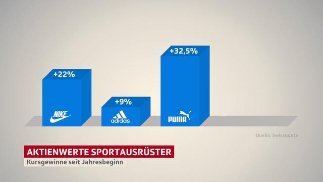 Balkendiagramm mit drei Balken: Jener von Nike ist 22 Prozent gross, jener von Adidas 9 Prozent und jener von Puma 32.5 Prozent