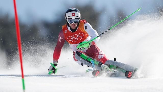 Luca Aerni durant ses percurs dal slalom.