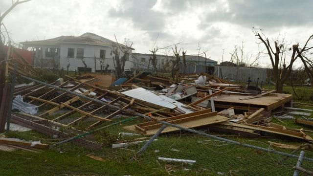 Zerstörtes Haus, geknickte, blätterlose Bäume
