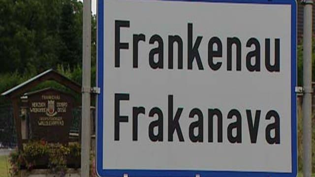 Tavla cun inscret Frankenau/Frakanava.