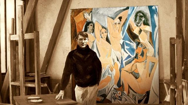 Ein Bild von Picasso, montiert in ein Bild seines Ateliers, dahinter in Farbe Picassos Gemälde «Les Demoiselles d'Avignon».