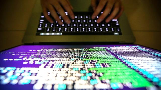 Vogelsicht auf ein Keyboard und einen Bildschirm mit bunten Farben.