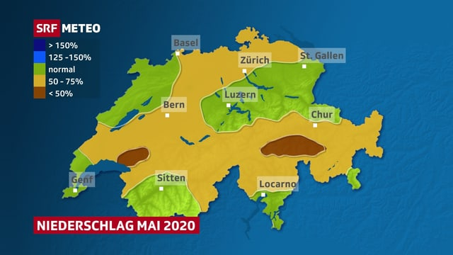 Niederschlagssummen im Mai im Vergleich zum Mittel