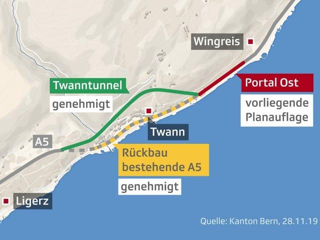 Karte mit dem Verlauf des Tunnels und dem Ostportal in Wingreis