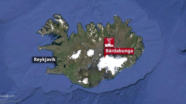 Karte von Island. (google earth)