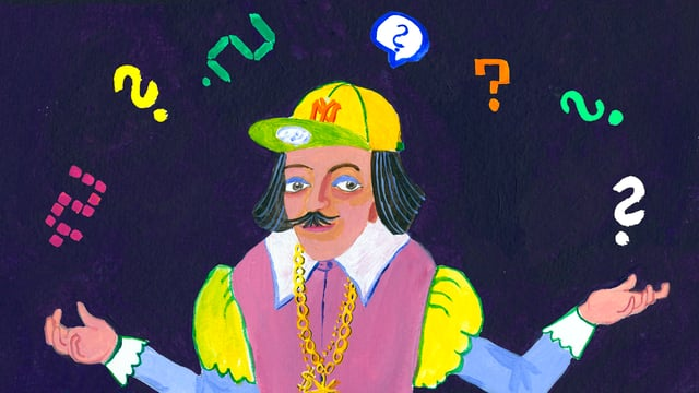 Illustration: Shakespeare mit Baseball-Mütze jongliert mit Fragezeichen.