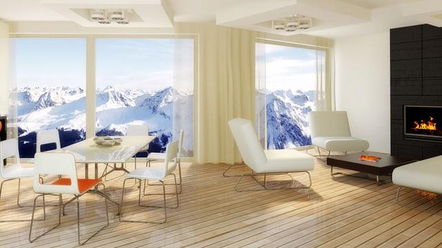Moderne Wohnung mit weissen Möbeln und Bergpanorama