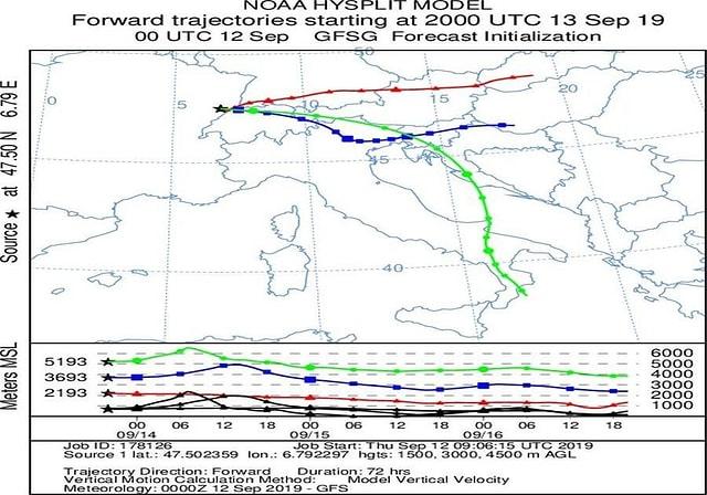 Farbige Flugwege, aus dem Modell berechnet, sind auf die Europakarte übertragen worden.