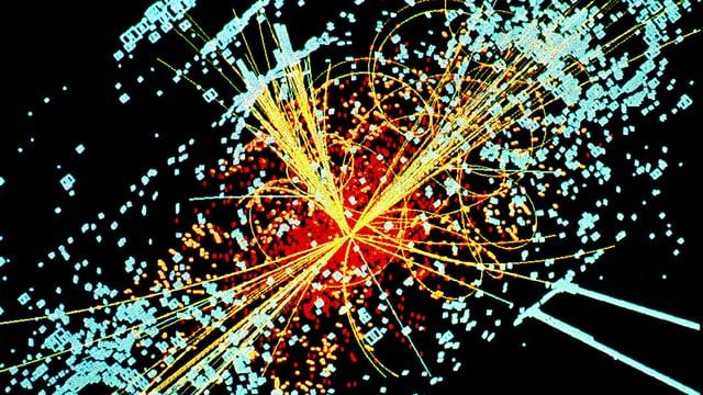 Eine Simulation des hypothetischen Zerfalls eines Higgs-Teilchens in Teilchen-Jets am CERN.