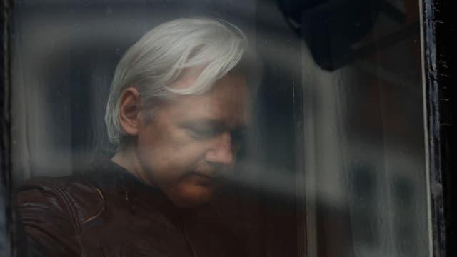 Wikileaks-Gründer Julian Assange hinter einem Fenster der ecuadorianischen Botschaft in London. (reuters)